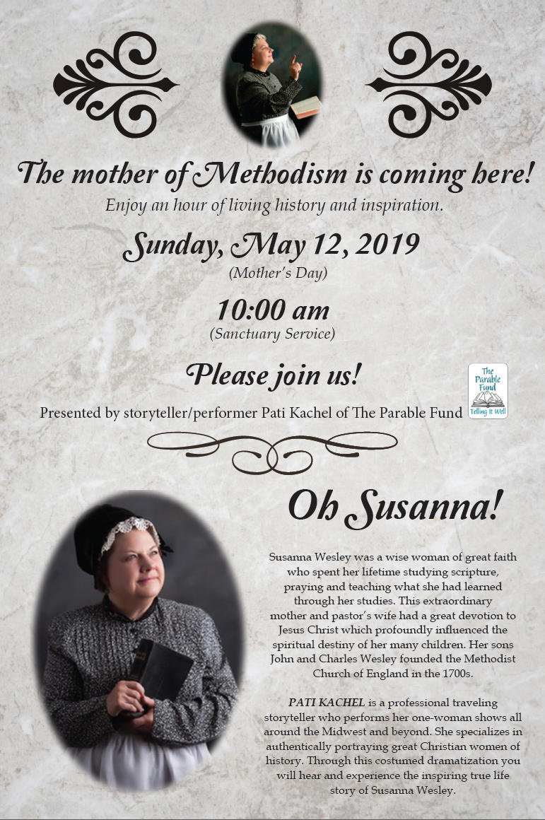 Oh Susanna!  Sunday May 12 10:00 am